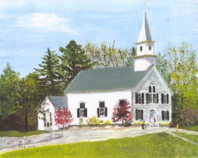 First Unitarian Society Church painting by member Joan Melcher, Wilton, NH